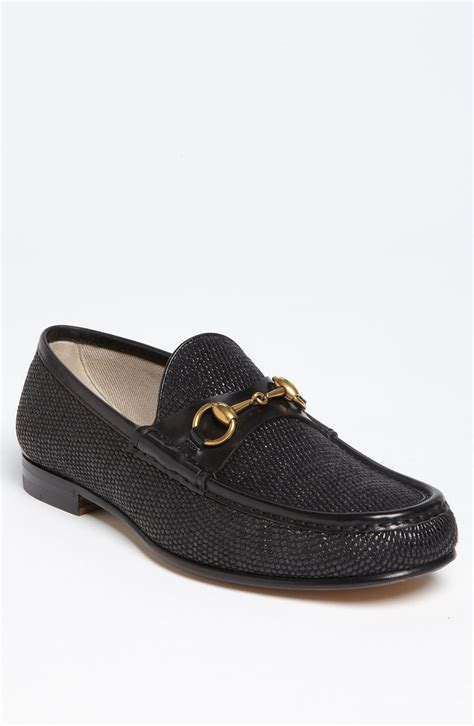 gucci roos straw bit loafer in black for lyst
