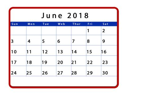2018 Calendar June June 2018 Calendar Templates Tools