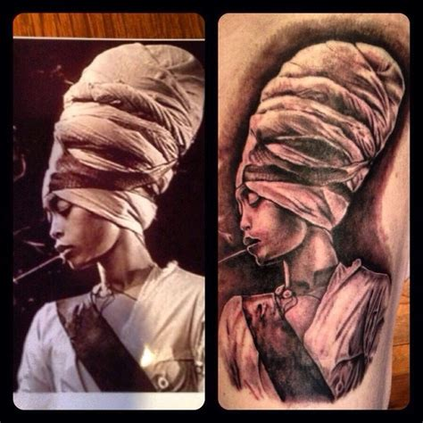 erykah badu tattoos erykah badu black and grey portrait go ask