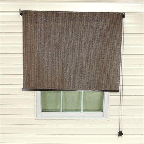 l shade radiance espresso stripe montecito fabric exterior roller sun shade 72 in w x 72 in l