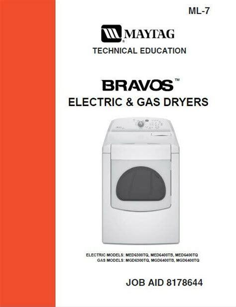 maytag bravos gas electric dryer service repair manual ebay