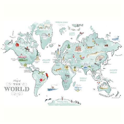 printable world cities map tait illustrated world map print by the tait