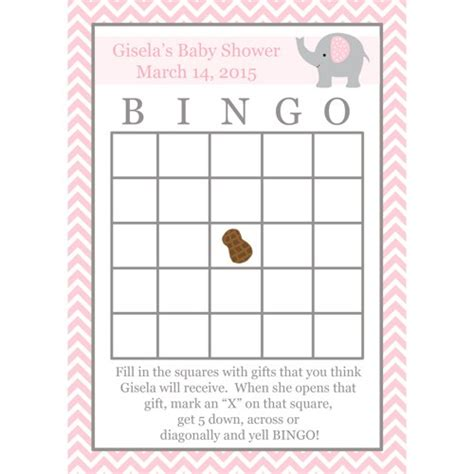 24 baby shower bingo game cards elephant pink