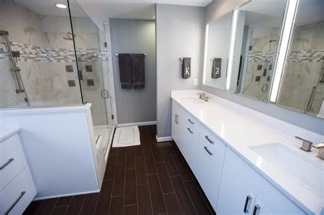 bathroom with dark wood floor modern white bathroom with dark wood floor callier and