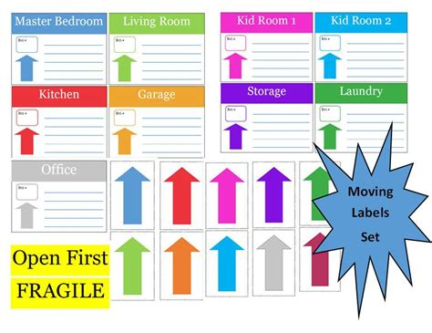New To Commandcenter On Etsy Moving Labels For Boxes Moving Box Labels Template Moving Box Moving Labels Template