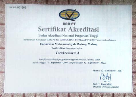 Contoh Surat Keterangan Akreditasi Ban Pt by Akreditasi Universitas Muhammadiyah Malang