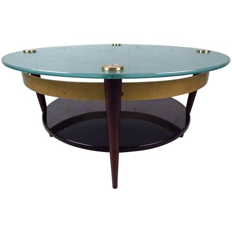 unique glass coffee tables unique mid century floating top glass and brass coffee