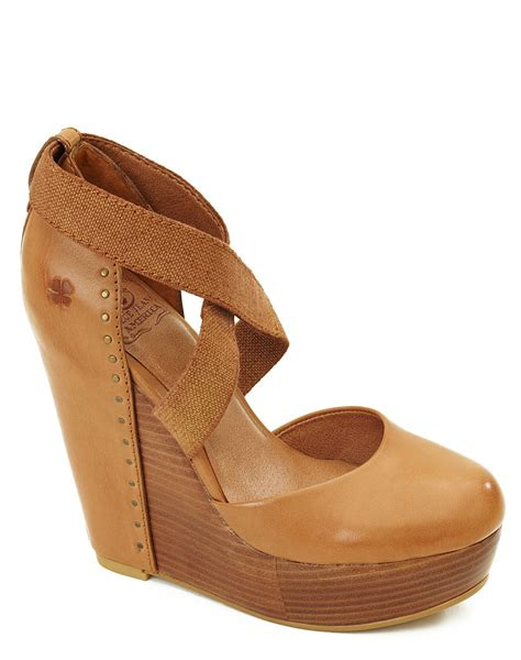 lucky brandon lucky brand nana leather covered wedges in brown cinnamon lyst