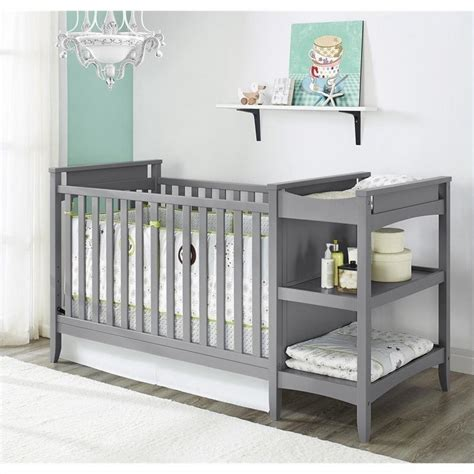 Crib And Changing Table Set 2 In 1 Convertible Crib And Changing Table Combo Set In Gray Da6790