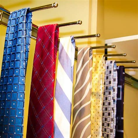stainless steel pull out tie rack for wardrobe storage
