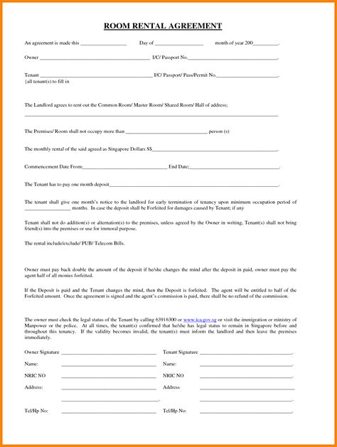 Agreement Letter For Renting A Room sle lease for renting a room sle room rental