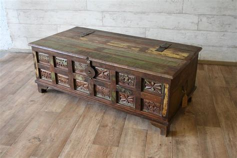 aimee upcycled trunk box coffee table by tree