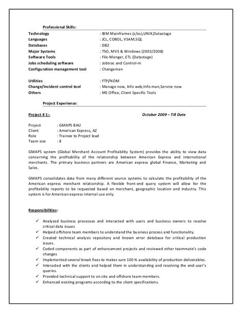 Sle Mainframe Resume by Sle Resume For Mainframe Production Support 28 Images Sle Resume 5 Years Experience Java 28
