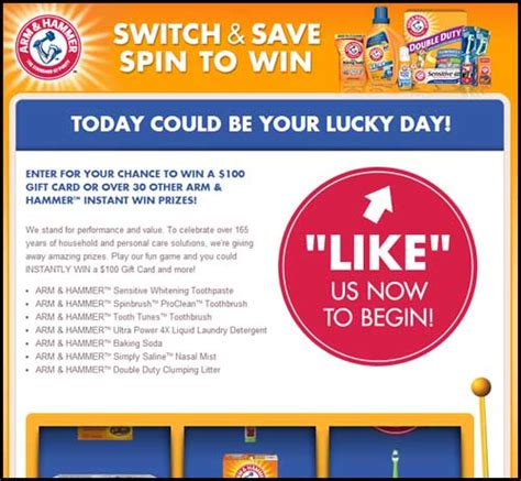 Spin To Win Sweepstakes - arm hammer sweepstakes switch and save spin to win sweeps maniac