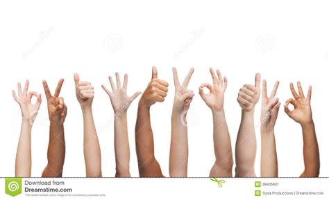 human hands showing thumbs    peace signs royalty