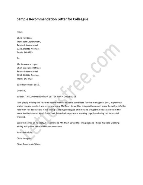 Endorsement Letter Colleague Sle Exle Of Recommendation Letter For Colleague Sle Recommendation Letter How To Write A