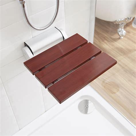 sapele folding wooden shower seat