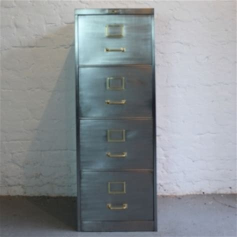 mid century vickers polished steel filing cabinet with