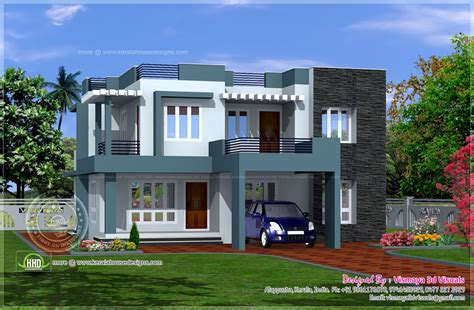 villa home simple contemporary style villa plan kerala home design