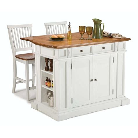 shop home styles white midcentury kitchen island with 2 stools at lowes com