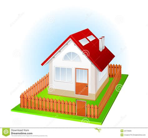 house with fence small house with fence royalty free stock image image 23776926