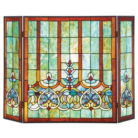 stained glass hearts fireplace screen tri fold