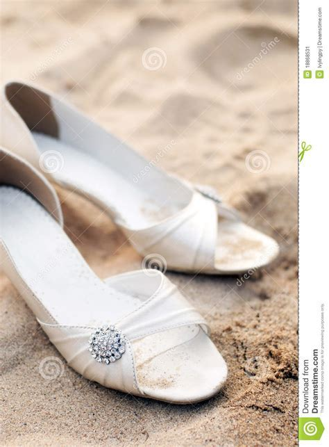 Bridal Shoes On Beach Wedding Party Stock Image   Image of