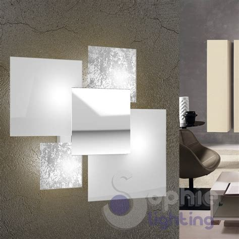 applique design moderno applique grande muro design moderno foglia argento bianco