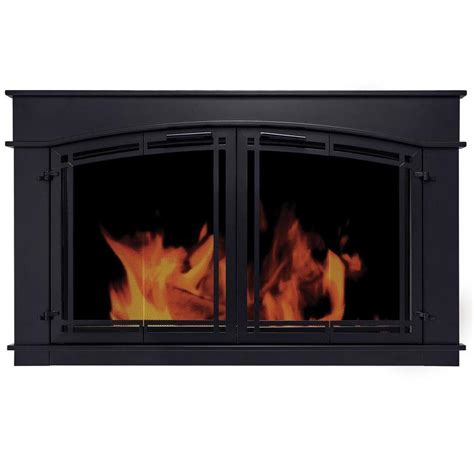 Pleasant Hearth Glass Fireplace Doors Shop Pleasant Hearth Fieldcrest Black Small Bi Fold Fireplace Doors With Smoke Tempered Glass At