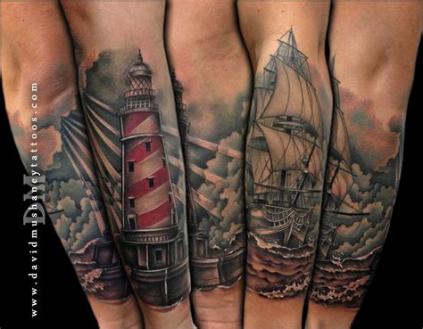 ship tattoo lighthouse and ship half sleeve by david mushaney