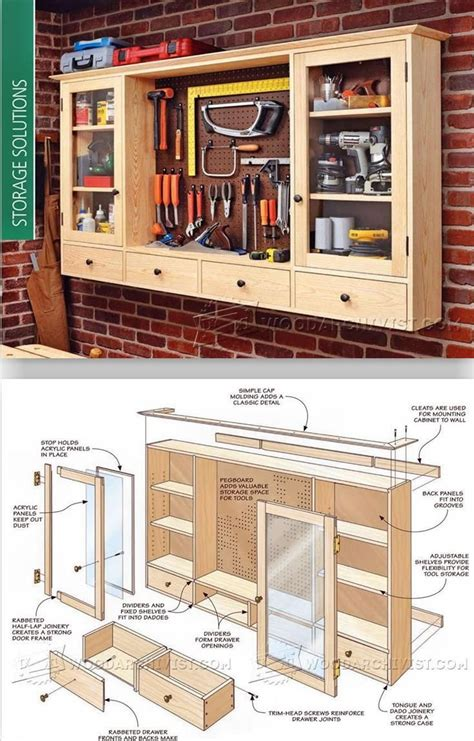 pegboard tool cabinet plans workshop solutions plans