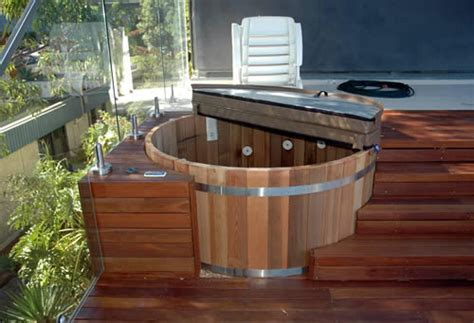 sunken hot tub deck backyard design ideas