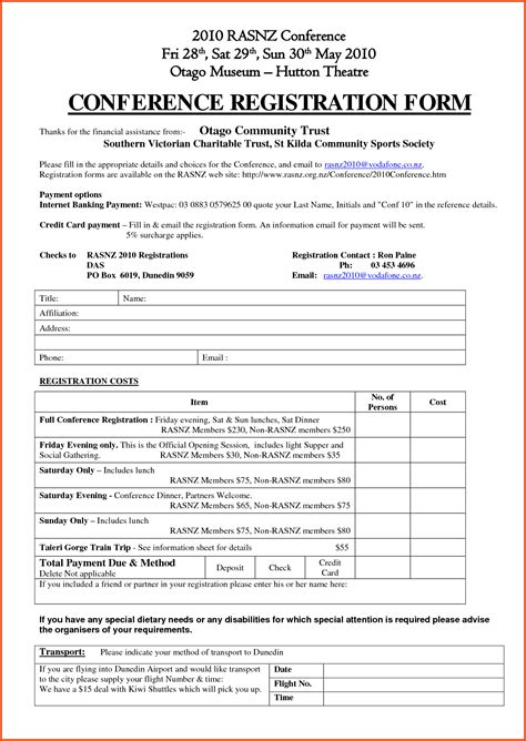 Form Free Download Conference Registration Form Conference Registration Form Workshop Registration Form Template Word