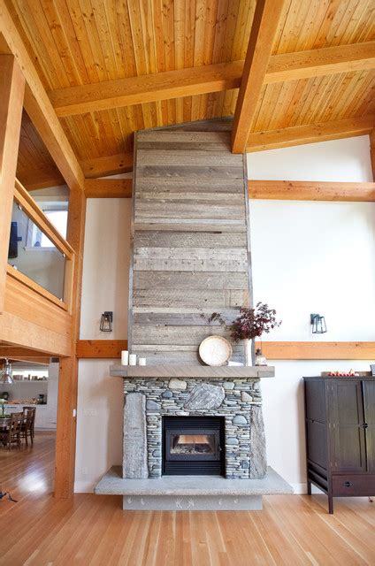 Cottage Home Builders Stone Fireplace With Reclaimed Bargeboard Finish