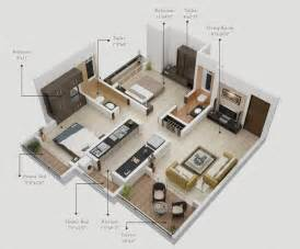 Kitchen of this two bedroom one bathroom apartment visualization