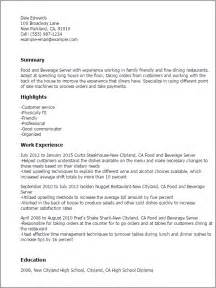 Resume Exle For Server by Professional Food And Beverage Server Templates To Showcase Your Talent Myperfectresume