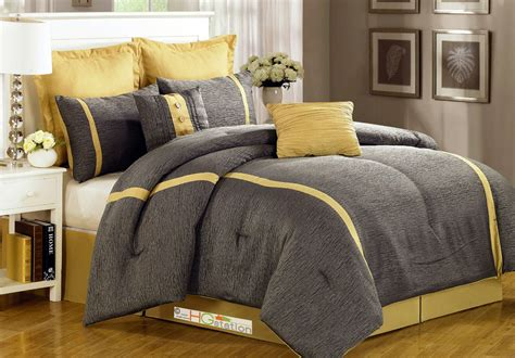 yellow and gray comforter 8 pc animal skin texture striped jacquard comforter set