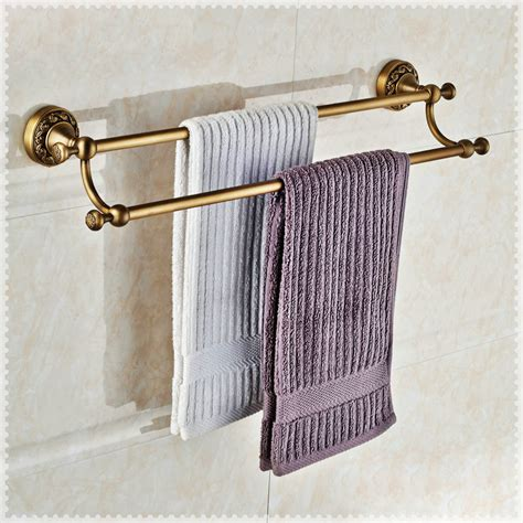 brass towel racks for bathrooms antique brass double towel bar wall mounted bathroom towel
