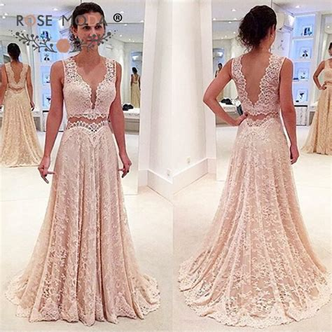 Aliexpress Buy Custom Made V Neck White Gold Beaded Prom Dress 2016 Open Back by Aliexpress Buy Plunging V Neck Chantilly Lace Two Pieces Evening Dress Low V Back Floor