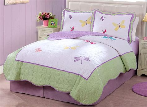 girls queen comforter purple green butterfly dragonfly bedding little girls full