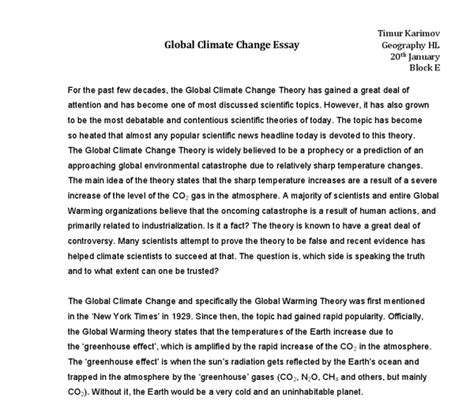 Anti Global Warming Essay by Essay On Global Warming From 2 Perspectives International Baccalaureate Geography Marked By