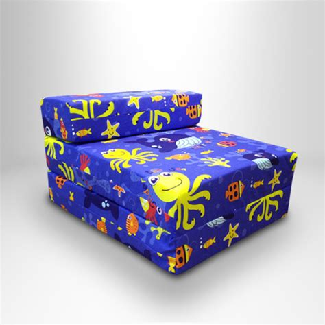 character sofa kids character foam fold out sleep over guest single futon