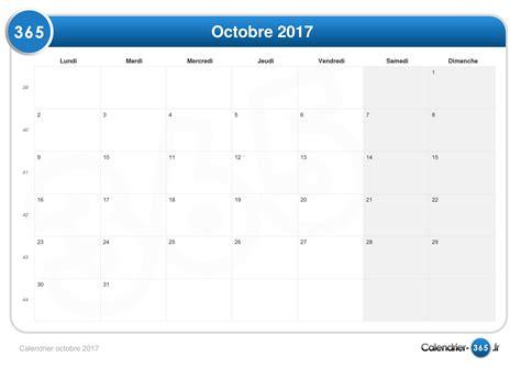 Calendrier 2017 Avec Quantième Calendrier Octobre 2017