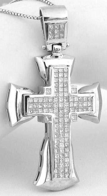 4.0 ctw Princess Cut Diamond Cross Pendant in 18k white