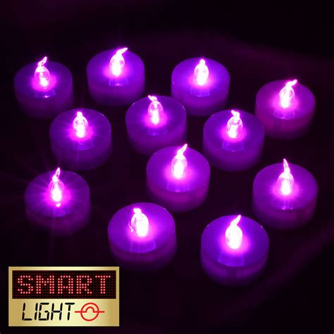 battery tea light candles smartlight purple flameless led battery tea light candles