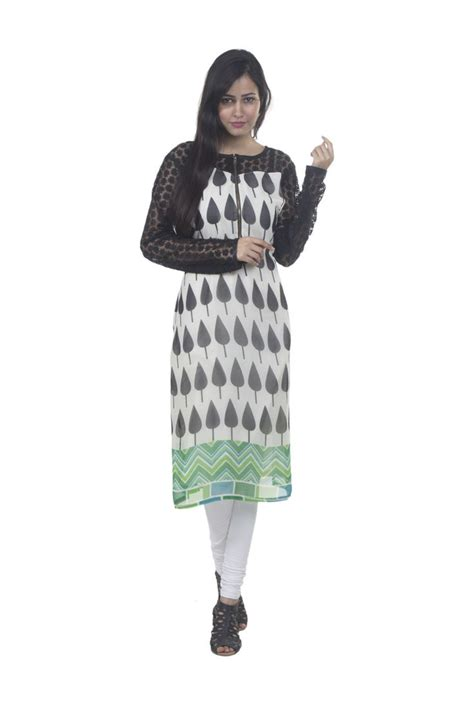 Sleeve Kurta Zipper casual georgette printed kurti with front zip and net sleeves and shoulder kurtis tunics