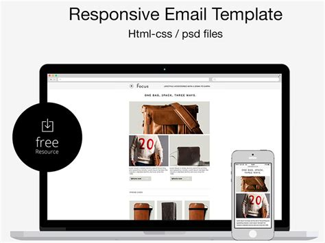 free psd html responsive email template by marco lopes