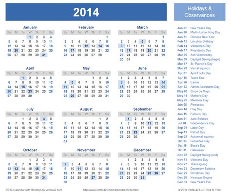 2016 us holidays chart printable calendar template 2016