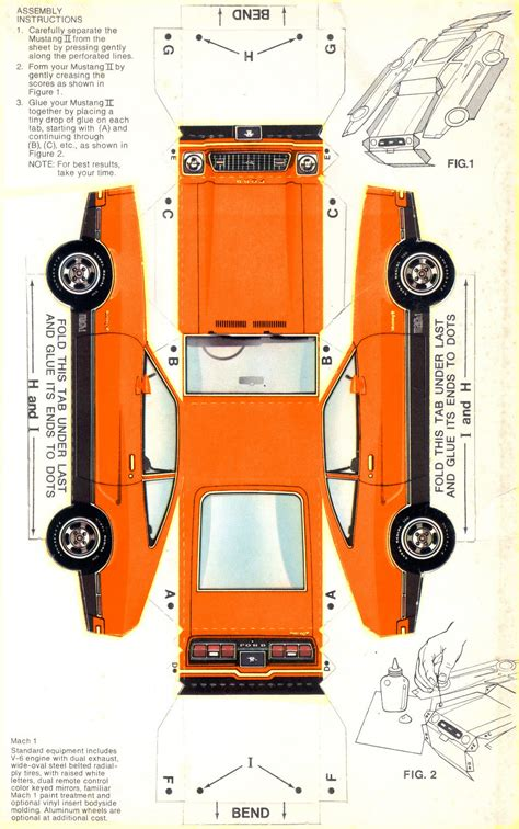 How To Make A Paper Model Car - orange 1974 mach 1 paper car ford mustang ii hatchback