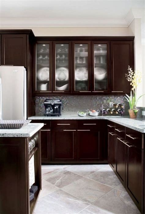 espresso kitchen cabinets trendy color   kitchen